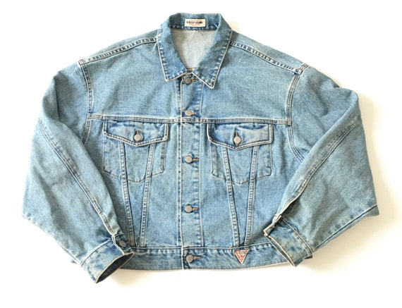 1990s GUESS JEANS Vintage Cropped Denim Jacket //