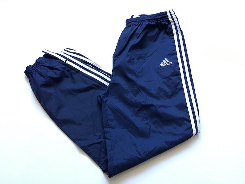 041f3acc2cd9a 1990s ADIDAS TRIPLE STRIPE Nylon Vintage Track Pant // Size Large