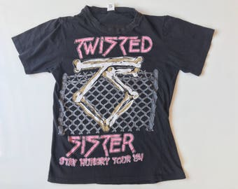 1984 TWISTED SISTER Stay HUNGRY Tour Distressed Vintage T Shirt // Size Small
