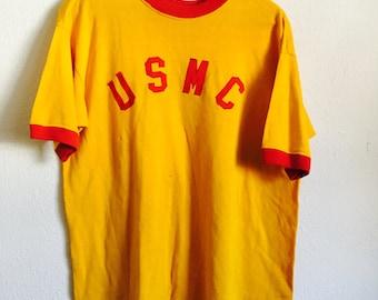1970s USMC Distressed Vintage Jersey Ringer T Shirt // Size Large