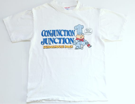 1995 SCHOOLHOUSE ROCK CONJUNCTION Junction Whats Your Function Vintage T Shirt  Size