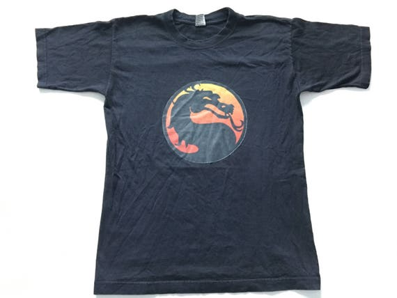 1990s MORTAL KOMBAT DRAGON Iron On Distressed T Sh