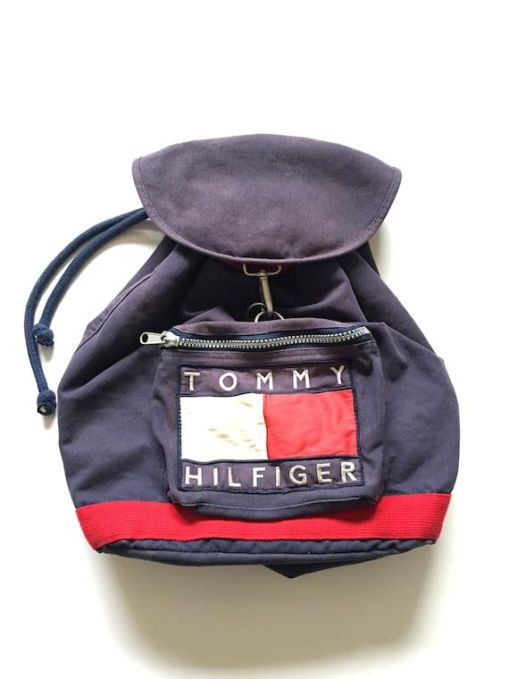 1990s TOMMY HILFIGER Distressed Vintage Backpack w