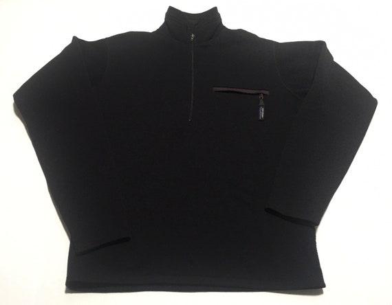 1990s PATAGONIA Black 1/4 Zip Fleece Thermal Vinta