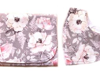 Baby gift Burp cloth and bandana bib gift set -  fawn floral print