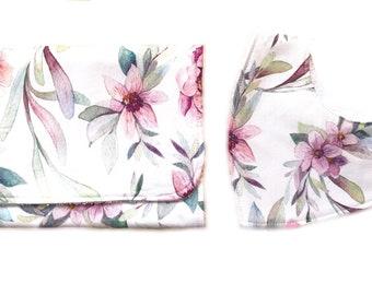 Baby gift Burp cloth and bandana bib gift set -  tropical floral print