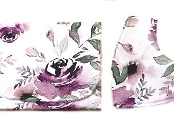 Baby gift Burp cloth and bandana bib gift set -  rose floral print