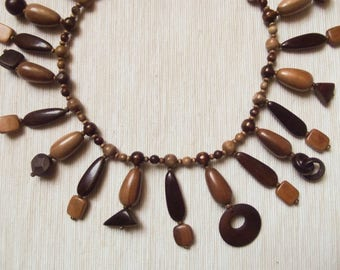Designer wooden bib necklace with wooden charms very lightweight ooak