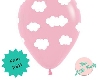 6 x Pink Cloud Balloons - Hot air balloon, up & away Baby Shower Decoration