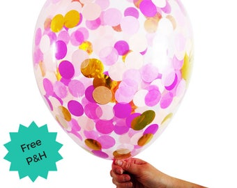 Pink & Gold Confetti Balloon Larger 40cm Party Decoration