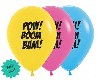 6 x Super Hero Balloons Birthday Party Boom Pow Zap