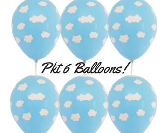 6 x Light Blue Cloud Balloons Hot air balloon, up & away Baby Shower Decoration