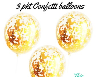 3 x Gold Confetti Balloons Party Decorations