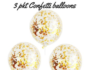 3 x Silver & Gold Confetti Balloons Party Decorations