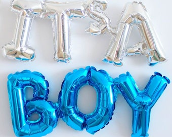 Baby Shower Balloons Blue Party Decoration Words Letters It's a boy!