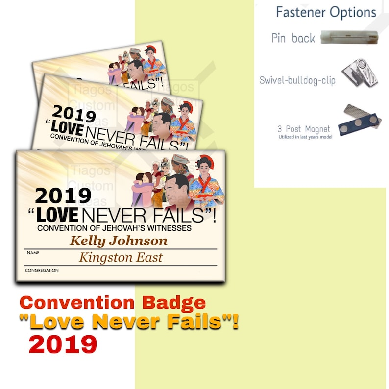 """JW ORG 2019 international convention Name badge / Tags -   """"Love never  Fails""""!  Aluminum 2 1/8""""x 3 3/8"""" Personalization #Badge Beige"""