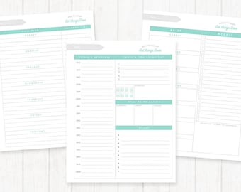 Organizational Printable Bundle – Instant Download. Daily To-Do List, Weekly Planner, Menu Planner.