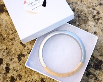 Silver natural wooden bangle wood hand-painted bracelet