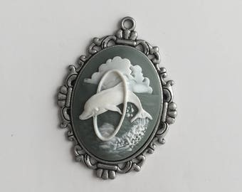 Cameo Dolphin necklace pendent..no chain included