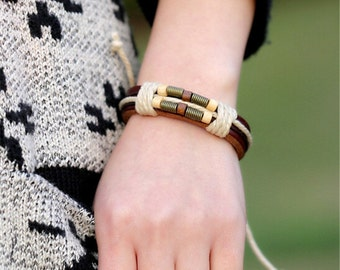 Woven Leather Bracelet with beads