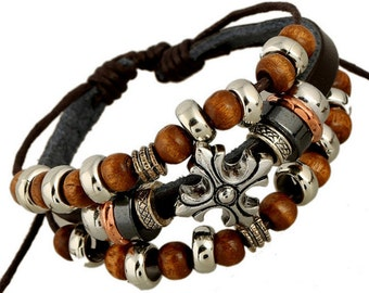 Brown Leather Bracelet with Cross Charm