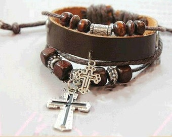 Leather bracelet with Cross Charms