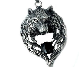 Stainless Steel Wolf Head Necklace biker Round Beads chain Animal Pendant Necklace Jewelry