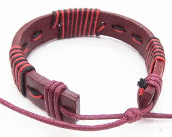 Leather Bracelet with red and black