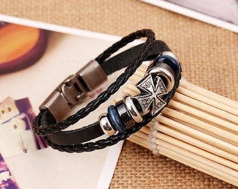 Black Leather Bracelet with Cross Charm