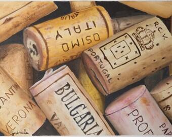 Stampa di quadro a olio da me realizzato, tappi di sughero, colori del vino