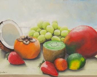 Stampa di quadro a olio da me realizzato, natura morta, frutta