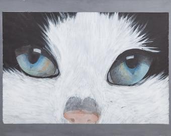 Stampa di quadro in acrilico da me realizzato, gatto