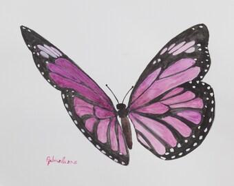 Stampa di acquarello da me realizzato, farfalla viola