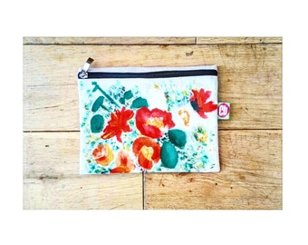 21 x 16cm Floral Print Hemp Pencil Case / Make up Bag (Limited Edition Only 5 Made)