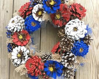 Pine Cone Wreath - wreath - Rustic Wreath - Pine Cone Zinnia - Painted Pine Cone - Patriotic Wreath - Painted Pine Cone - Door Wreath