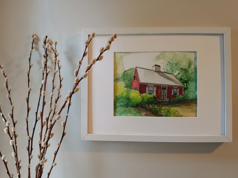 Original Watercolor Framed Watercolor Cape Cod Original Art Architecture Erica Harney Landscape Painting Painting of House