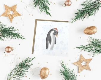 720f5c1be46cc Penguin Christmas Card - Watercolor Penguin Christmas Card - Santa Hat  Penguin - Penguin Card - eco Christmas card - Festive Penguin