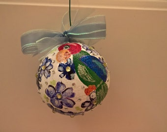 Hand Painted Parrot Ornament