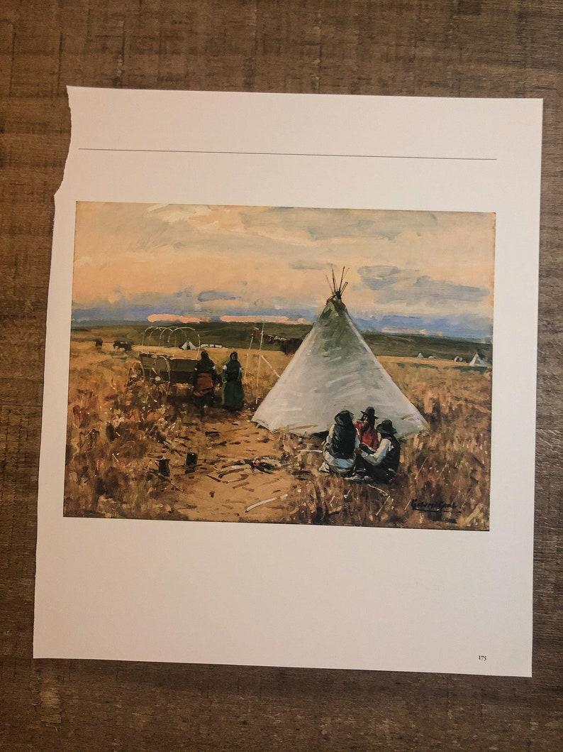 Vintage bookplate western art print The Pow-Wow