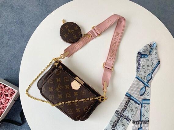 Louis Vuitton Multi Pochette Accessoires Monogram shoulder bag LV three-piece pink/green straps