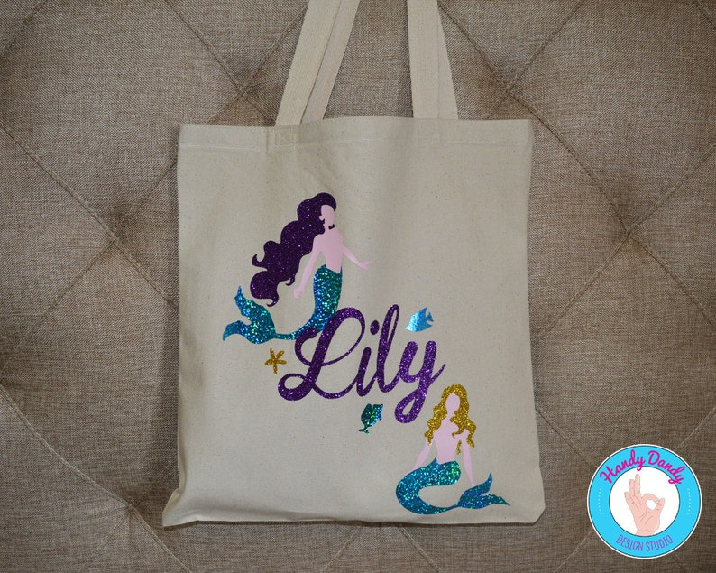 533945bdd2e3 Custom Glitter Mermaid Tote Bag - Customized With Your Name - Beach Bag -  Swimming Bag - Vacation Bag - Pool Tote - Sparkle - Little Mermaid