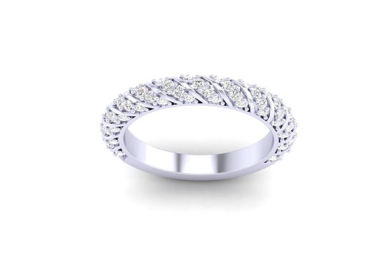 008edaba469b8 Ladies Platinum Pave Anniversary Band -Wrap Around Pave Diamond Band  -Wedding Band- Bridal Band .70ct G-VS Diamonds