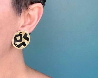 Circle Earrings, Big Gold Earrings, Round Earrings, Modern Earrings, Metal Earrings, Geometric Earrings, Statement Earrings, Large Earrings