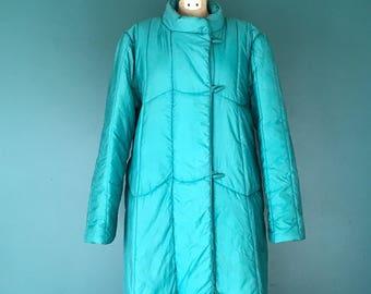 Puffy Jacket. Quilted Jacket. Nylon Jacket. 80s Puffy Coat. Long Quilted Coat. Retro Puffy Jacket. 80s Winter Jacket. Long Winter Coat