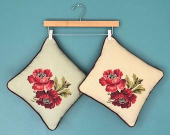 Floral Embroidered Pillow Set, Crewel, Flower Pillow, Throw Pillow, Tapestry Pillow, Decorative Pillow, Cottage Chic Pillow, Set of Pillows