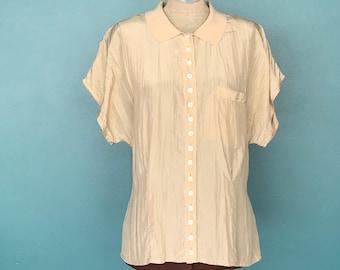 324cbcf08595ba Loose Silk Nude Simple Vintage Top