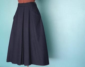 "Navy Wool Maxi Skirt, High Waist Pleated Long Skirt Minimalist Skirt High Waisted Full Maxi Skirt 24"" Waist Small TaraLynEvansStudio"