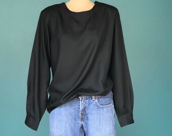 Black Silk Blouse, Oversized Blouse Silk Top Loose Fit Top Slouchy Top Black Shirt Casual Blouse Long Sleeve Blouse Medium Large