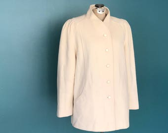 80s Ivory Minimalist Wool Coat, Wool Jacket, Vintage Jacket, Womens Coat, Winter Coat, Vintage Coat, Medium Large, TaraLynEvansStudio