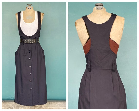 Pinafore 80s Black Overall Apron Dress Vintage Mid